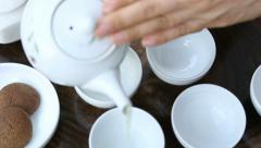 Green tea ceremony Stock Footage