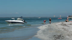 Sanibel Island Florida family women beach fun HD 2156 Stock Footage