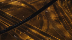 Elevated Interchange Freeway Highway Rush Hour Cars Dubai Skyline Night Lights Stock Footage