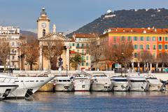 view on port of nice and luxury yachts, france - stock photo