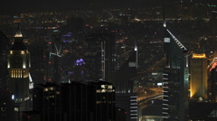 Illuminated Aerial View Dubai Skyline Emirates Towers Night Lights Business Area Stock Footage