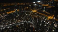 Dubai Downtown Establishing Shot Night Lights Aerial View Skyline Busy Streets Stock Footage