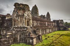 inner courtyard at angkor wat - stock photo