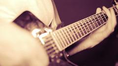 Heavy metal guitarist playing guitar  Stock Footage