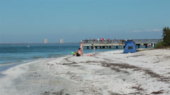 Sanibel Island Florida fishing pier beach fun HD 2159 Stock Footage