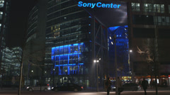 Sony Center at Potsdamer Platz in Berlin Germany at night Stock Footage