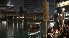 Tourists Shopper Enjoying Water Tour Boat Artificial Pond Dubai Mall Night Light - stock footage