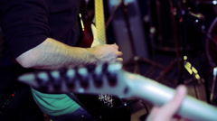 Bassist and guitarist in action in pratice room Stock Footage