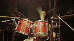 The drummer in studio Stock Footage