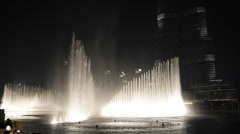 Night Illuminated Dancing Water Fountain Artificial Lake Dubai World Largest UAE Stock Footage