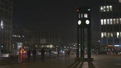Potsdamer Platz Historic Traffic Light in Berlin Germany at night - stock footage