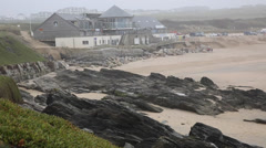 Fistral beach Newquay Cornwall following the storms Stock Footage