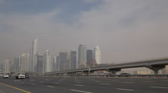 Huge Traffic Jam Congestion Sheikh Zayed Road Dubai Marina Cars Passing Highway Stock Footage