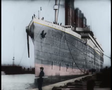 Titanic Ship at the docks Front Original Historical Couloured 2 Stock Footage