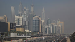 Cars Traffic Highway Dubai Marina Aerial View Corporate Buildings Business Tower Stock Footage