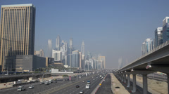 Crowded Busy Highway Aerial Dubai Marina Skyline Cityscape Rush Hour Commuters Stock Footage