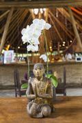 Hindu patsas ja orkidea, Ubud, Bali, Indonesia Kuvituskuvat