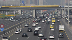Sheikh Zayed Road Busy City Cars Passing Traffic Jam Rush Hour Crowded Highway Stock Footage