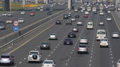 Busy Freeway Traffic Jam UAE Daylight Sunlight Summer Hot Dubai Highway Cars Stock Footage