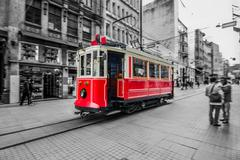Red tram in istanbul, istiklal street, turkey Stock Photos