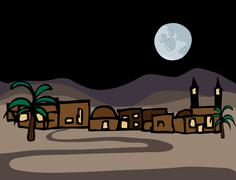 Little Near East Desert Town - stock illustration
