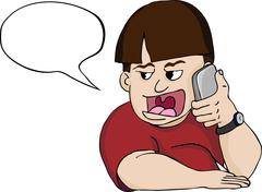 Loud Mouth Man on Phone Stock Illustration