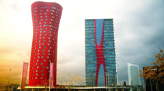 The Hotel Porta Fira Barcelona, red and shaped like a lotus flower. Stock Footage