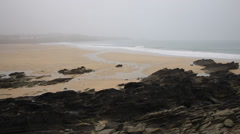 Misty morning at Newquay beach Cornwall England UK Stock Footage