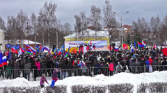 Russian People support Crimea in Petrozavodsk on March 16, 2014 Stock Footage