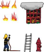 Fire Fighting Collection 01 Stock Illustration