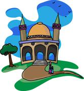 Trip To A Little Mosque - stock illustration