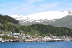 Ketchikan Alaska with Snow Peaks Stock Photos