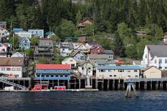 Ketchikan Alaska Downtown Docks Stock Photos