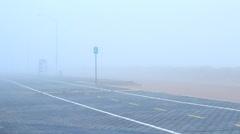 Foggy Beach Boardwalk - stock footage