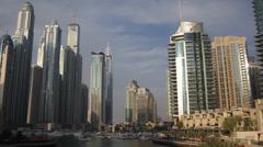 Iconic Dubai Marina United Arab Emirates UAE Deluxe Yachts Waterfront Promenade Stock Footage