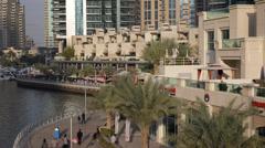 Dubai Marina Waterfront Promenade People Walking Shopping Area Busy Street UAE Stock Footage