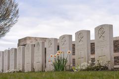 British cemetery great war in flanders fields belgium Stock Photos