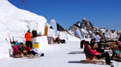 Igloo village on the zugspitze Stock Footage
