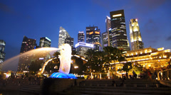 Time Lapse Asia Singapore Skyline Marina Bay Merlion Statue Financial district Stock Footage