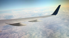 Clouds with airplain wing Stock Footage