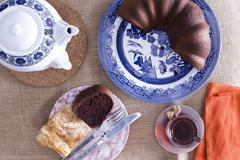 turkish borek and chocolate cake for tea - stock photo