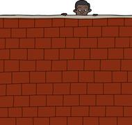 Boy looking over wall Stock Illustration