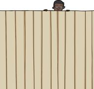 child looking over fence - stock illustration