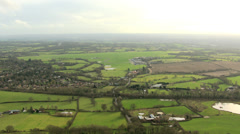 Aerial view rural countryside town, England, UK Stock Footage