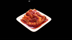 Kimchi Korean Food turn table with Alpha Stock Footage
