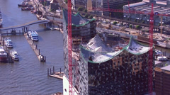 Aerial view of Hamburg's new opera house under construction Stock Footage