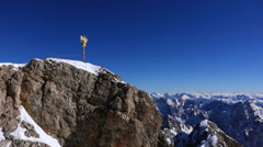 Summit cross on the Zugspitze Stock Footage