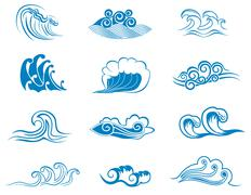 set of wave symbols - stock illustration