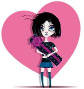 emo girl and gift - stock illustration