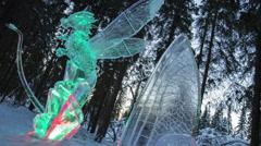 Alaska, Ice Carving World Championship 2013, Dragon Stock Footage
